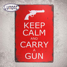 """ Keep Calm and Carry a Gun "" Metal Tin sign Rustic Wall Plaque Garage Bar Wall Stickers Decor"