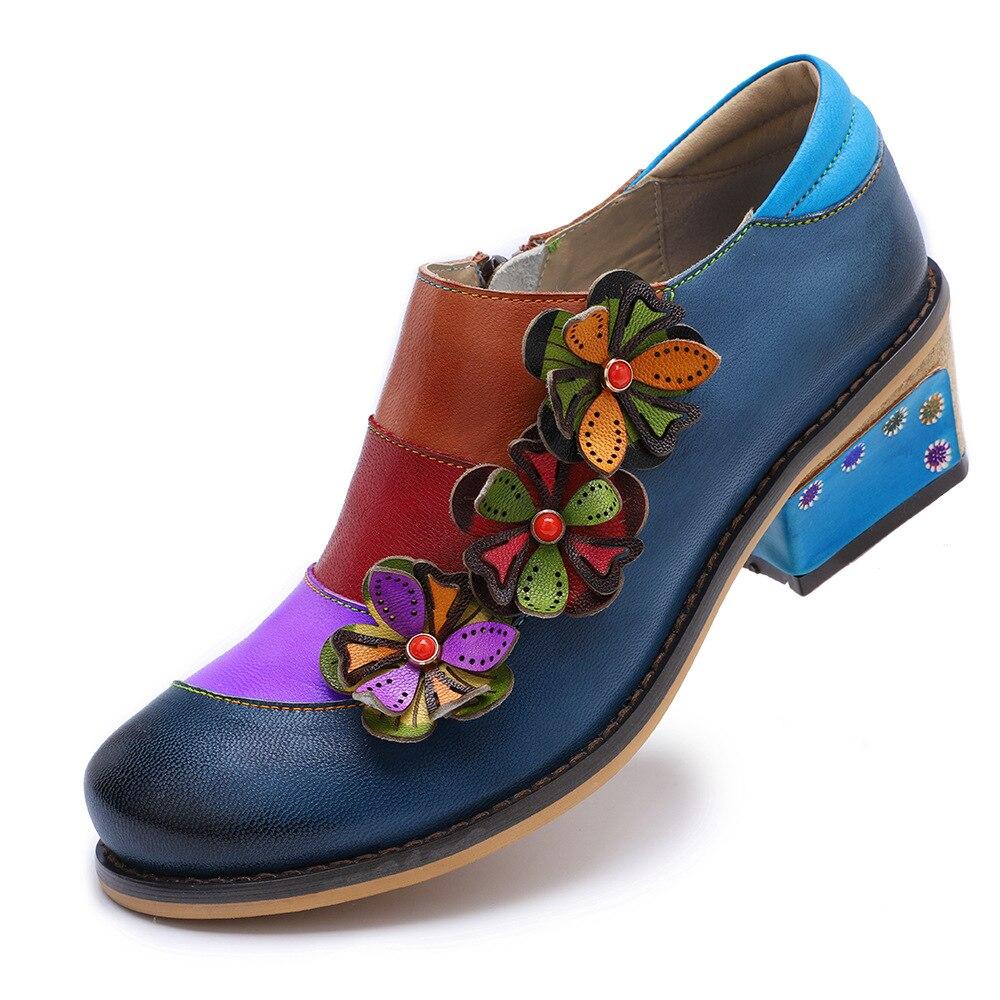 Johnature 2019 nowa wiosna Retro mieszane kolory prawdziwej skóry okrągłe Toe aplikacje Handmade damskie buty na co dzień pompy Med obcasy w Buty damskie na słupku od Buty na  Grupa 3