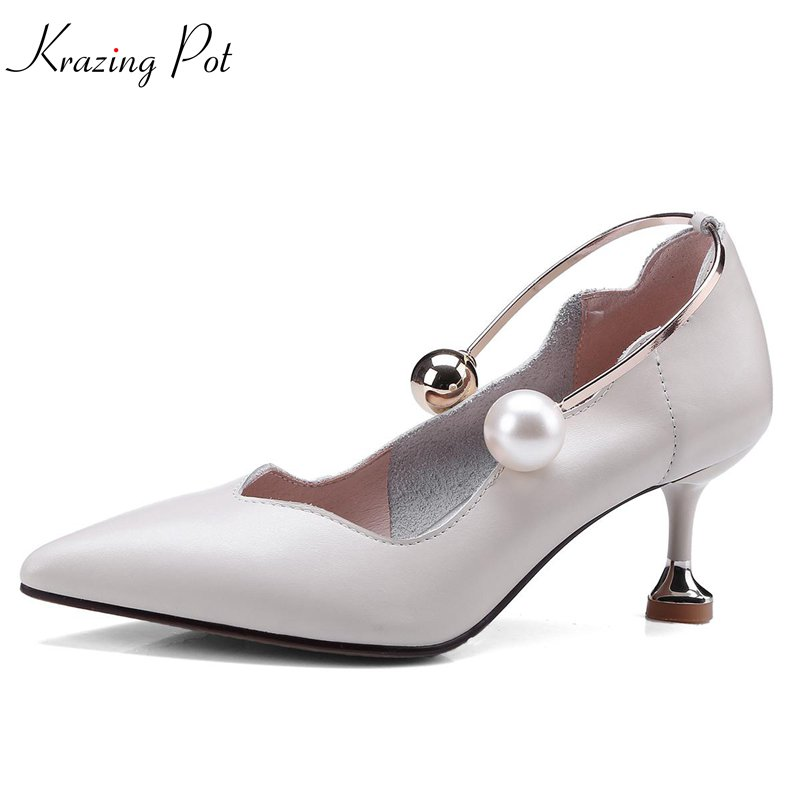 krazing Pot 2018 genuine leather pearl spring women pumps thin high heels simple pointed toe solid wedding shallow shoes L07 krazing pot fashion brand shoes genuine leather slip on pointed toe concise lazy style strange high heels women cozy pumps l73