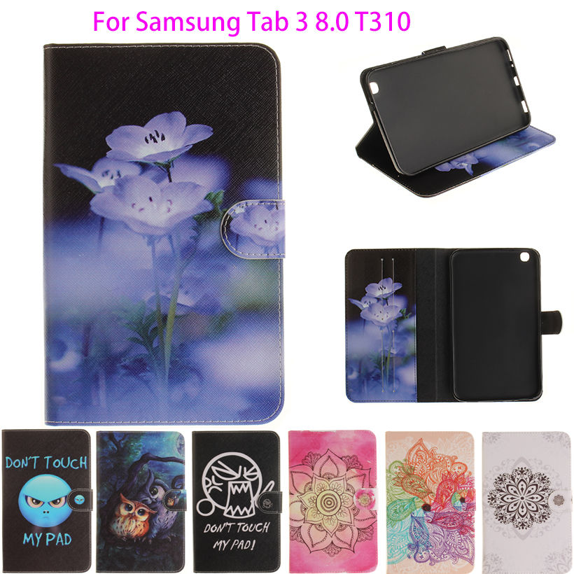 Tablet Väska till Samsung Galaxy Tab 3 8,0 tum SM-T310 T311 T315 Smart Cover Stand Cartoon Skriv ut Silikon + PU Skinn Shell Funda