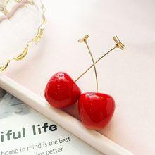 Sweet Red Cherry Fruit Drop Dangle Earrings For Women Fashion Jewelry