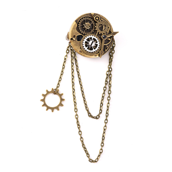 Steampunk Gothic Rock Women Vintage Brooch Bronze Gear Hair Pin Retro Hip Pop Hair Clip Accessories