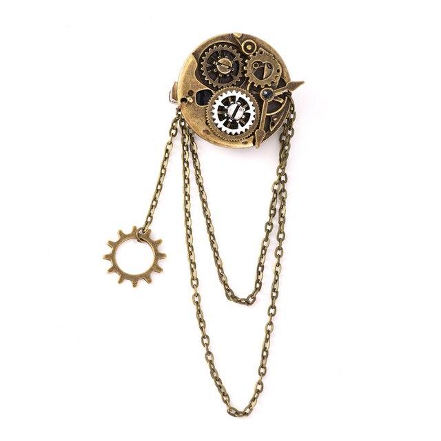 Steampunk Gothic Rock Women Vintage Brooch Bronze Gear Hair Pin Retro Hip Pop Hair Clip Accessories