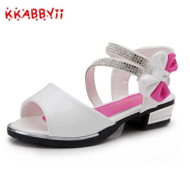0503fb3edaa Verano Niñas Sandalias niños calientes zapatos de moda princesa arco punta  abierta playa Sandalias para Niñas