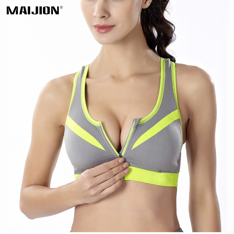 MAIJION Professional Zipper Shockproof Sports Bras for Women , Padded Push Up Tank Tops Fitness Running Gym Yoga Vest Bras
