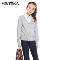 VOVLORA 2017 Baby Girl Sweaters Kids Top Quality Cotton Diamonds Long Sleeve School Clothes Autumn Kids