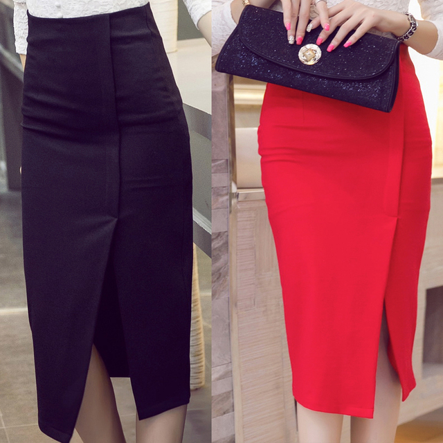 New Women Slim High Waist Half-length Pencil Bag Hip Split Irregular OL  Step Skirt Plus Size faldas mujer skirts S-5XL 1e308d282e71