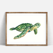 Watercolor Sea Turtle Art Print Poster, Wall Picture for Childrens Room Decoration, Home Decor Painting on Canvas