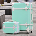 "14"" 28""(2 pieces/set) vintage abs+pc trolley luggage bags set on universal wheels,red married box,retro girl travel luggage bags"