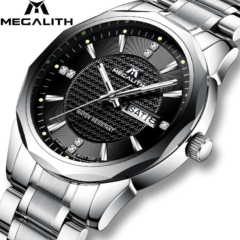 MEGALITH Wrist Watch Gents Sports Waterproof Analogue Calendar Quartz Men Watch Luxury Top Brand Luxury Watches