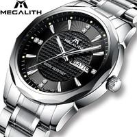 MEGALITH Wrist Watch Gents Sports Waterproof Analogue Calendar Quartz Men Watch Luxury Top Brand Luxury Watches Men Montre Homme