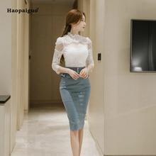 Plus Size 2 Piece Set Women Suit 2018 Summer O-neck Lace Blouse Shirts Tops and Blue Pencil Midi Skirt Crop Top