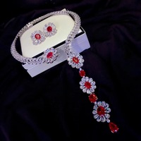 925 sterling silver with cubic zircon necklace and stud earring jewelry set for wedding red and white color mixed fashion