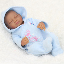 Kawaii 10 Inch African American Baby Doll Black Girl Full Silicone Body Reborn Babies Dolls Ethnic Alive Brinquedos