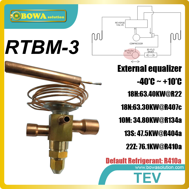 RTBM-3 expansion valve working as throttle valve is installed in varous type refrigeration equipments and heat pump water heater 26rt cooling capacity thermostatic expansion valve is suitable for water chiller or heat pump equipments r410a txv avaliable
