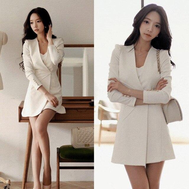 Women Ol Formal Business Work Dress V Neck A Line Zipper Black Suit