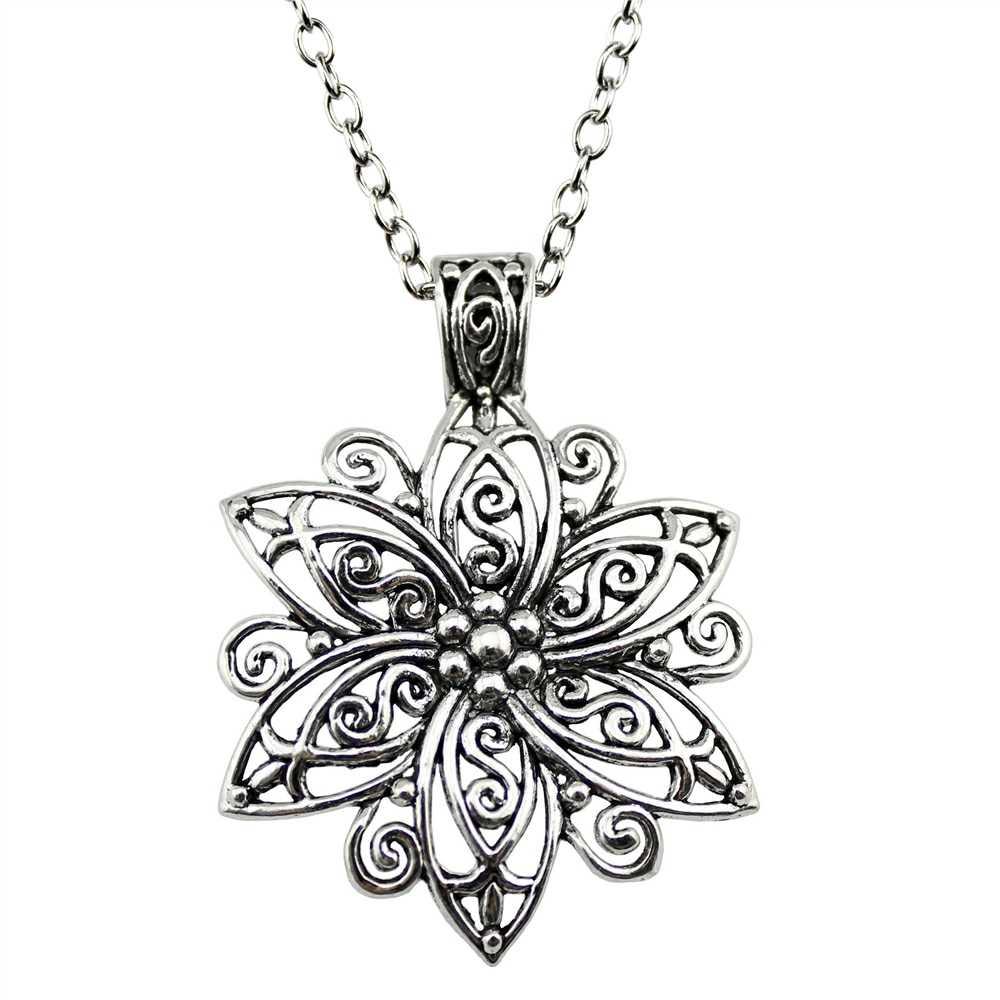 Мода 66*47 мм (2,6*1,85 дюймов) большой кулон в форме цветка короткая/Длинная цепочка ожерелье ювелирные изделия для женщин