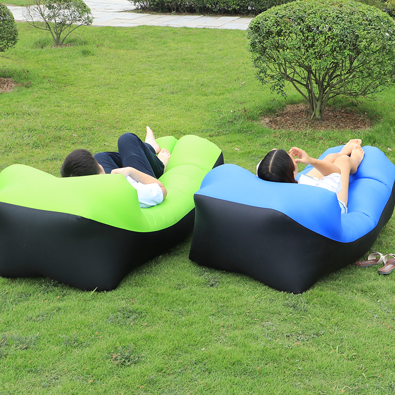 Outdoor Inflatable Air Lounger Bed Lazy Sofa Beach Sleeping Bag Couch Pillow