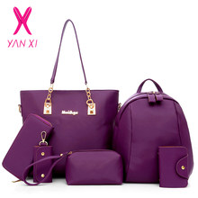 YANXI Nylon Shoulder Bags Set Buy 1 Get 6 Women's PU Leather Clutches Handbags Famous Brands Lady Purse Mini Back Pack for Women(China)