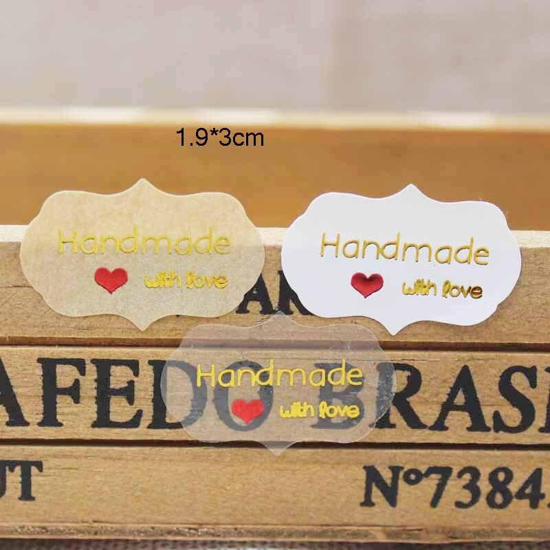 100PCS Diy Gold Foil Sticker Label Tag Vintage Kraft Handmade With Love Self Adhesive Sticker Label Tag Clear Pvc Sticker Label