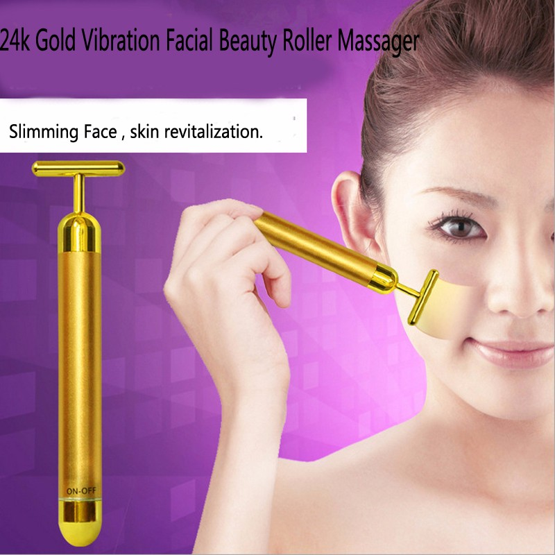 Slimming Face 24k Gold Vibration Facial Beauty Roller Massager Stick Liftiing  Tightening Wrinkle Stick Bar with bag проводные наушники marley positive vibration em jh011 cp rose gold