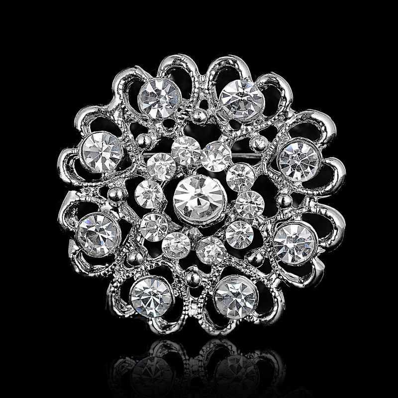 Strass di Cristallo D'argento Del Fiore Spille per le Donne Degli Uomini di Cerimonia Nuziale Nuziale Del Partito Rotondo Bouquet Spilla Spille Chiaro