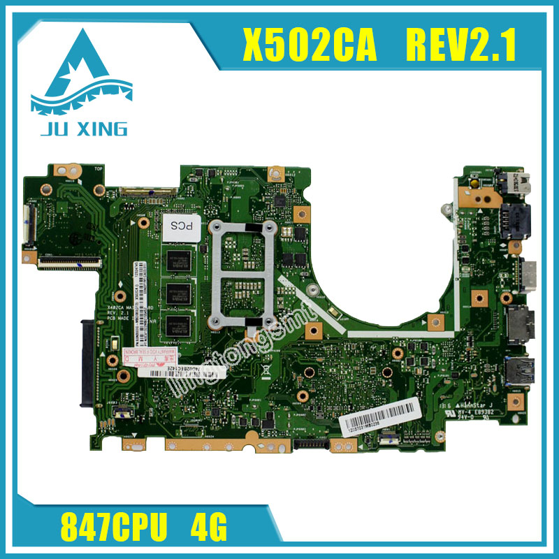 for ASUS X502CA Laptop Motherboard X402CA REV2.1 with 847cpu 4g Mainboard Fully tested for asus ux31a ux31a3 laptop motherboard with i5 3517u cpu fully tested rev 4 1 top mainboard