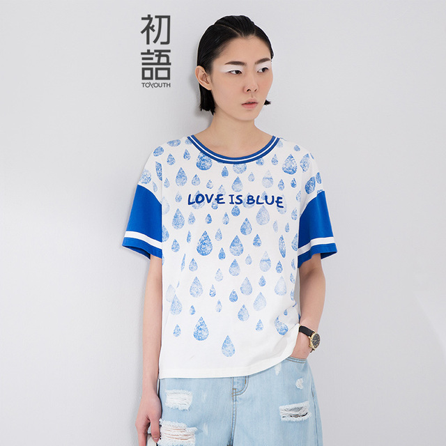 Toyouth 2017 New Arrival Women Summer Casual O-Neck Letter Printed Raining Pattern Shirt Female Cotton Loose Top