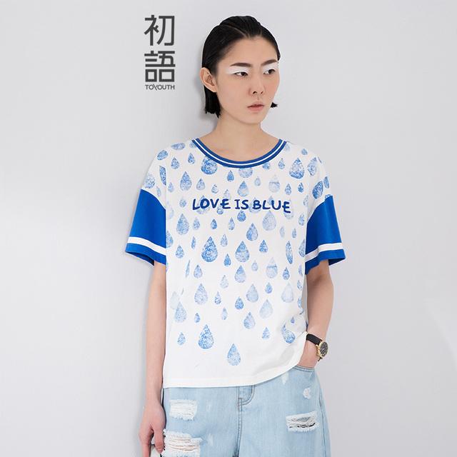 Toyouth 2017 Recién Llegado de Verano de Las Mujeres Ocasionales Del O-cuello Impreso Letra Raining Patrón Camisa de Algodón Flojo Superior Femenino