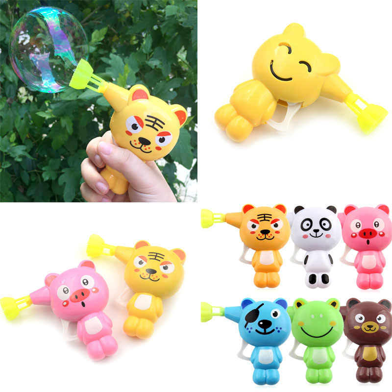Kids Blowing Bubbles Toy Cartoon Animal Soap Water Bubble Gun For Kid children Outdoor Toys Children Manual Bubble Gun blower