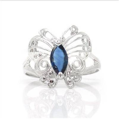 2017 Anillos Qi Xuan_Dark Blue pierre papillon Rings_Fashion Rings_S925 argent massif mode rings_fabricant directement ventes - 2