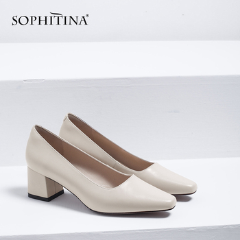 SOPHITINA New Stylish Genuine Leather Square Heel Ladies Pumps Sexy Pointed Toe High Shoes Basic Slip-On Women SO210