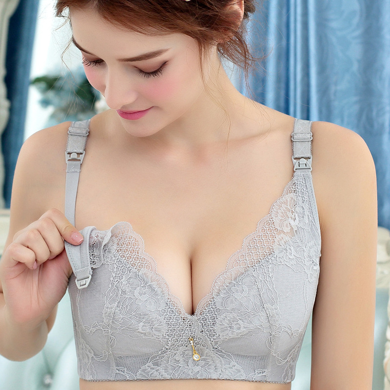 APREGIES Nursing Bra Plus Size Wire Free Maternity Breastfeeding Bra Push Up Front Closure B C D E Sexy Lace Breast Feeding Bras недорго, оригинальная цена