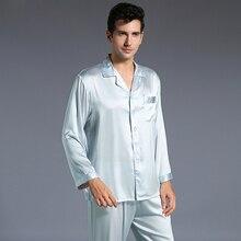 Новинка Осень мужские шелковые пижамы комплект пижамы пижамный комплект с длинными рукавами пижамы мягкие уютные для сна Бесплатная доставка