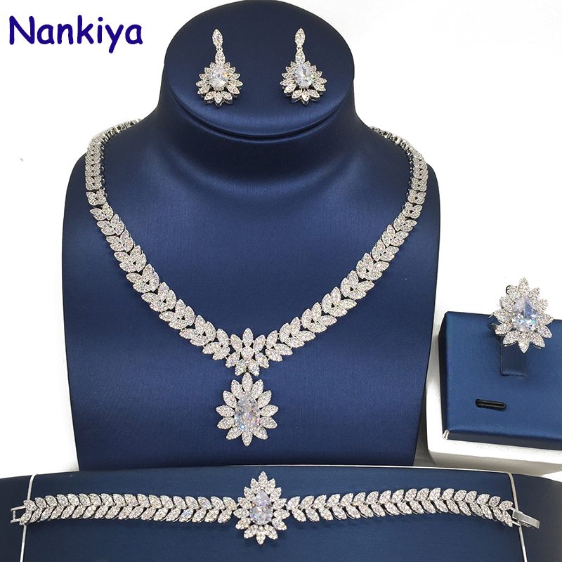 Nankiya Elegent Cubic Zircon 4pcs Necklace Jewelry Wedding Bridal Set Leaf Waterdrop Rhinestone Jewelry Set For Lady Dress NC201