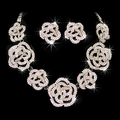 New Fashion top grade Silver Plated glaring Clear Crystal Roses Necklace & Earrings Wedding Jewelry Set, Item: CR053