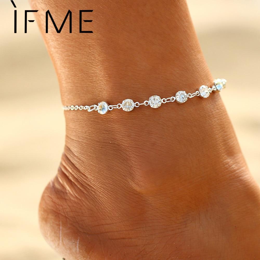 IF ME Mode Zilveren Kleur Kristal Enkelbanden voor Dames Strand Sieraden Bruidsschoenen Barefoot Sandalen Enkelbanden Armbanden voor Huwelijksgeschenken