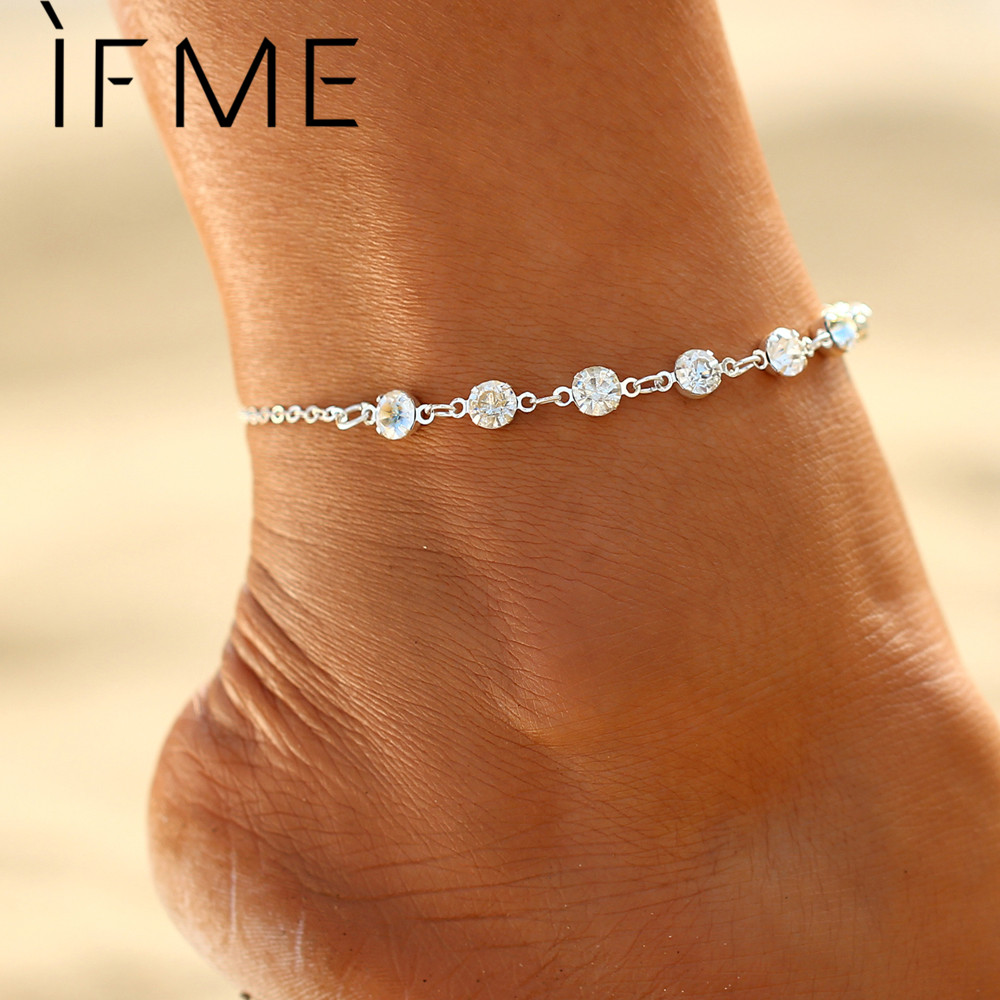 IF ME Fashion Silver Color Crystal Anklets for Women Beach Jewelry Bridal Barefoot Sandals Anklets Bracelets for Wedding Gift
