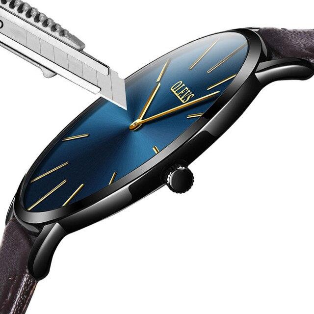 Ultra thin Watches Black Leather OLEVS Mens Watches Top Brand Luxury Wristwatch Men Business Simple Quartz Creative Wrist Watch 1
