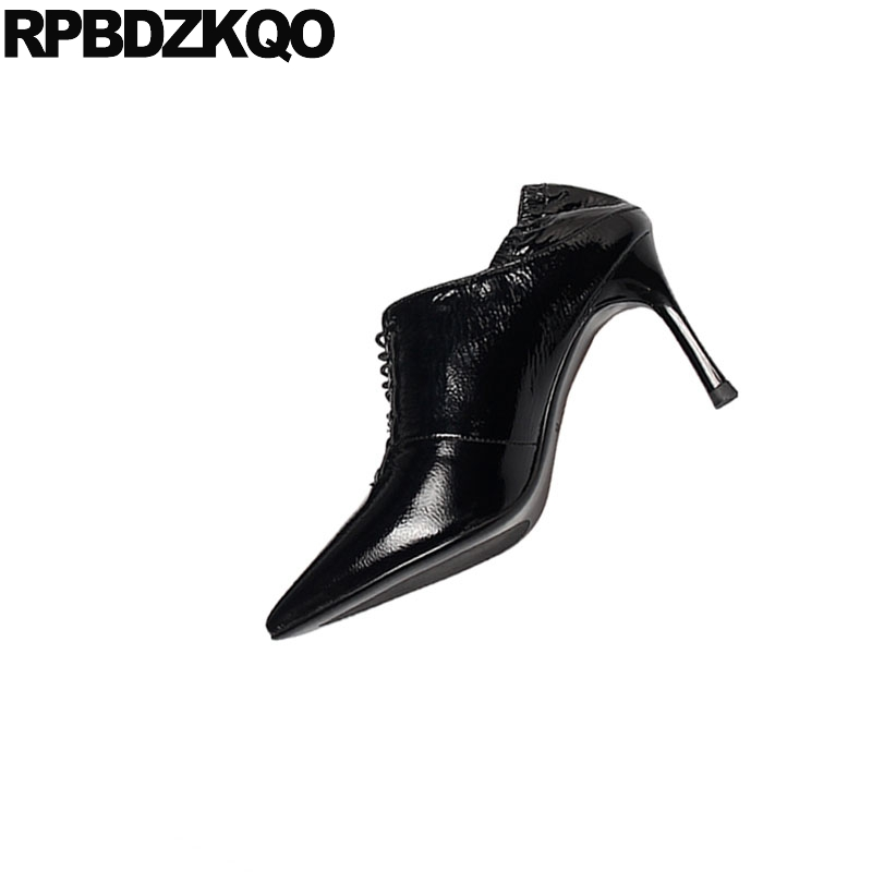 Black Genuine Leather Pointed Toe Handmade Scarpin Lace Up Fashion Shoes 2019 Luxury Women High Heels Ladies Pumps Patent 8cm - 6