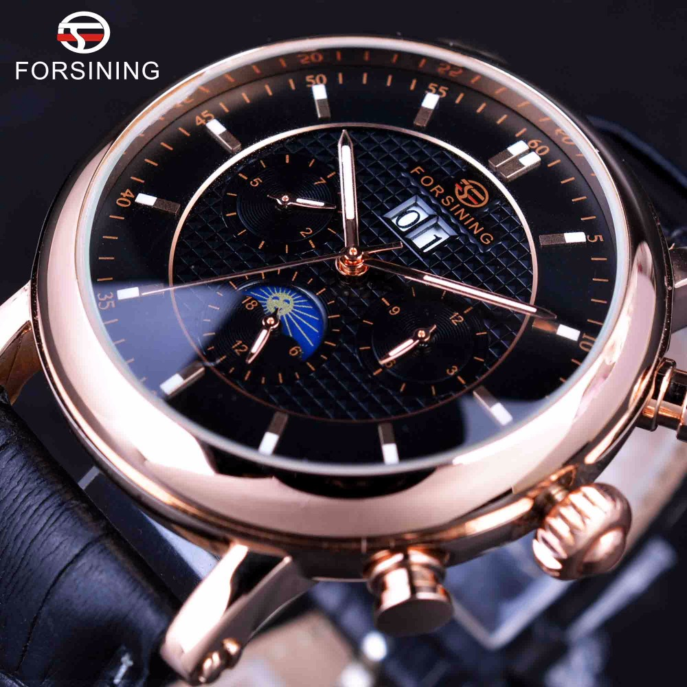 Forsining 2016 Rose Golden Design Moon Phase Calendar Display Mens Watches Top Brand Luxury Automatic Fashion Mechanical Watch forsining 3d skeleton twisting design golden movement inside transparent case mens watches top brand luxury automatic watches