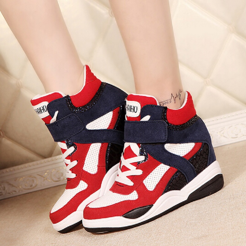 ФОТО New Womens Student Lace Up Casual Shoes High Top Hidden Wedge Color Block Decoration Boots Ladies Shoes Chaussure Femme