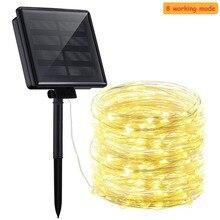 цена на 8 modeSolar String Lights 10M 20M LED Copper Wire String Fairy Lights Waterproof Christmas Solar Power Lamp Outdoor Garden Decor