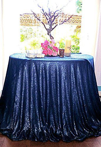 Elegant Navy Blue 3.3m Round Sequin Table Overlay 132 Inch Round Glitter  Table Linen For Wedding Decoration In Tablecloths From Home U0026 Garden On ...