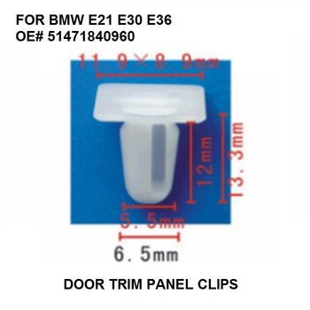 Door Trim Panel Clips x10 Pieces Door Sill Plate Side Moulding Clip for BMW E21 E30 E36 OE# 51471840960 image