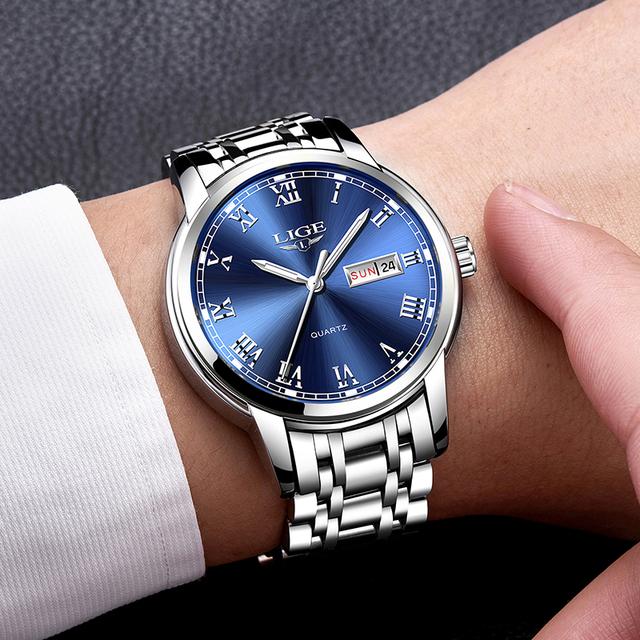 LIGE Top Luxury Brand Men Sports Watch Male Casual Full steel Date Wristwatches Men's Quartz watches relogio masculino