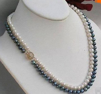 2 Rows 8 9 Mm Black White Akoya SOUTH SEA Pearl Necklace 18 Factory Wholesale Price