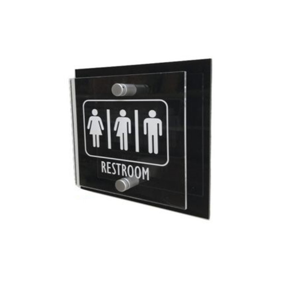 Transparent Acrylic Toilet signs/Restroom Signs/Gender Neutral Restroom Signs with Black Aluminum Backing Panel signs page 4