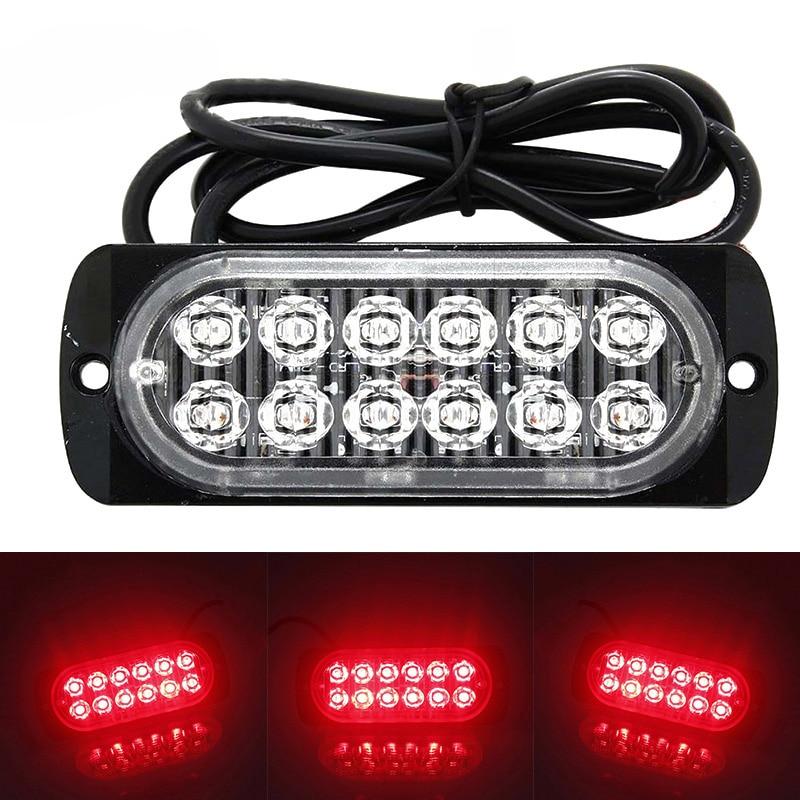 12LED Off-road Car Trucks Safety Urgent Working Fog Red Light 12V-24V 36W Super Bright LED Work Light Driving Fog SUV Boat Lamp