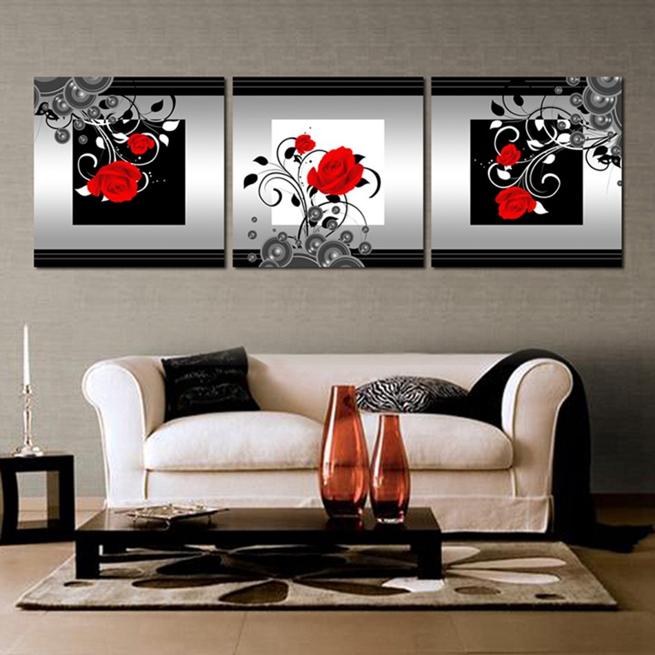 Modern Wall Paintings Living Room Compare Prices On Red Rose Canvas Online Shopping Buy Low Price